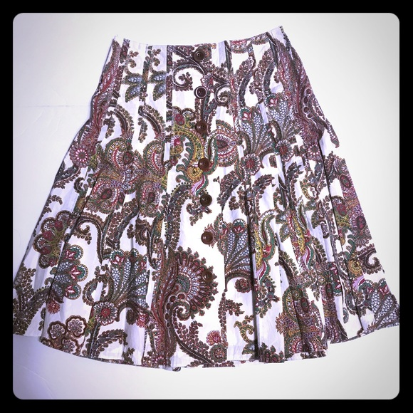 CAbi Cotton Paisley Button Front Skirt [SK-59]